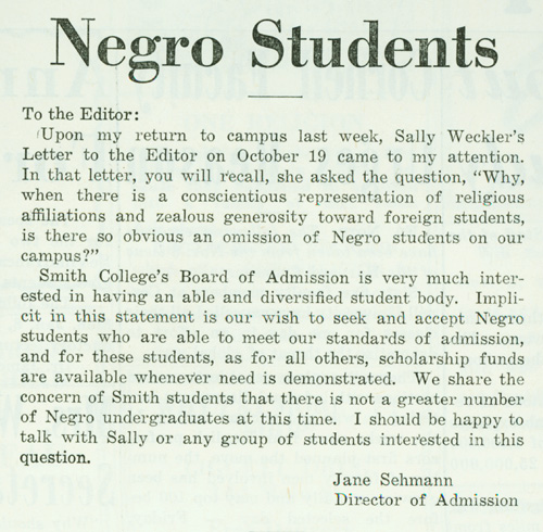 negro students a letter to the editor of the smith
