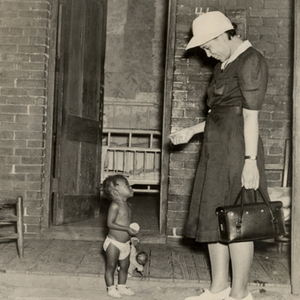 Visiting nurse and child, 1940