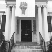 Strike banner hanging in front of Mary Ellen Chase House, Smith College, 5 May 1970.