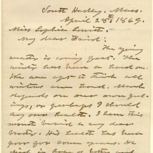 Letter, 28 April 1869, p.1