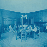 Students in the Society Room at the Smith College Students Building, 1904.