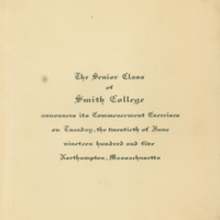 Smith College commencement announcement, 20 June 1905.