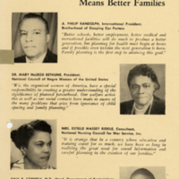 """Pamphlet, """"National Leaders Agree--Planned Parenthood Means Better Families,"""" undated"""
