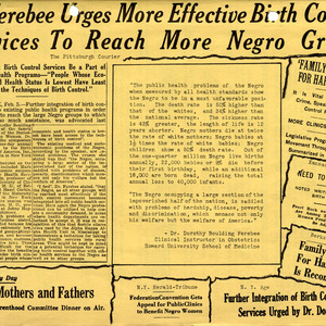 """Dr. Ferebee Urges More Effective Birth Control"" from News of Division of Negro Services, PPFA, undated"
