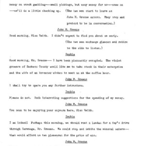 Heritage play, Scene VIII: Height of the Season, p. 4