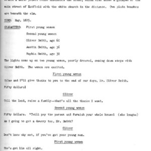 Heritage play, Scene III: New England Gothic, p. 1