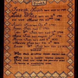 Smith Family sampler by Sophia Smith, ca. 1810