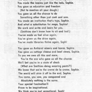 """""""Sophie"""" -- lyrics by Sarah S. Mermann '76. From a pamphlet of Smith College songs."""