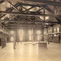 Interior of Alumnae Gymnasium and physical education equipment, undated.