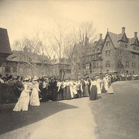 Waiting for doors to open for a basketball game at Alumnae Gymnasium, March 1903.