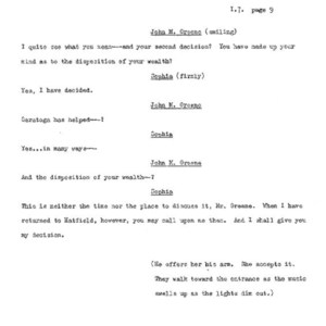 Heritage play, Scene VIII: Height of the Season, p. 9