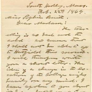 Letter, 22 February 1869, p.1