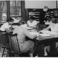 Students studying in the Neilson Library Periodical Room, undated.