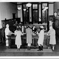 Neilson Library circulation desk and card catalog, cMarch 1944.