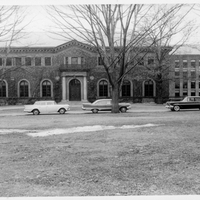 Neilson Library front exterior with cars, 1961.