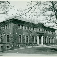 William Allan Neilson Library exterior with bicycles, c1940.
