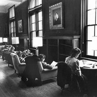 Students in Neilson Library Browsing Room, February 1981.