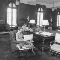 Students in Library's Browsing Room, May 1935.