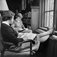 Two students reading in Browsing Room, c1950.