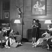 Students reading poetry in Browsing Room, Smith College Library. Vox Club, 1939.