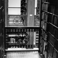 Iron work and glass floor in Neilson Library mezzanine stacks, 14 July 1972.