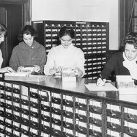 Card catalog in Neilson Library, c1960.