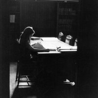 Student reading on second floor of Library, 14 July 1972.