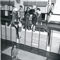 Fire rope practice in Alumnae Gym, c1952.