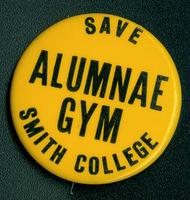 Save Alumnae Gym pin, 1976.
