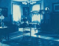 Two Smith College students in Dickinson House parlor, c1904.