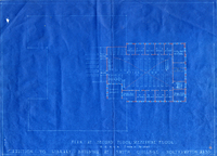 Architectural blueprints for addition to library building at Smith College, c1936.
