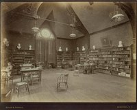 Smith College's first reference library, College Hall, c1890s.
