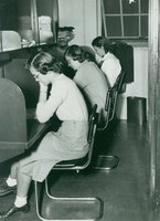 Three students in Neilson Library carrels, c1948.