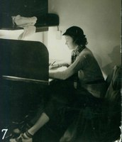 Student studying in carrel, c1937.