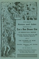 Printed program for benefit performance of Romeo and Juliet, 1908.