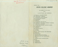 """Smith College Library's """"Classification and Location of Books,"""" ca. 1899."""