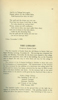 """The Library,"" an article by Florence Homer Snow, published in the Smith Alumnae Quarterly, January 1910."