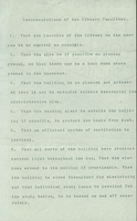 Recommendations of the Library Committee, October 1906.