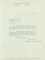 Mother Mary Joseph, typed letter signed, dated 21 March 1940, to Annetta Clark.