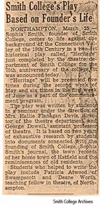 "A newspaper clipping about the play, ""Heritage"""