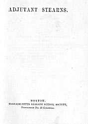 27. WILLIAM A. STEARNS, 1805-1876. Adjutant Stearns. Boston: Massachusetts Sabbath School Society, 1862, title page