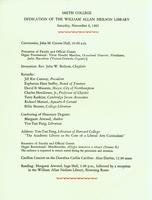 Program for the dedication of William Allan Neilson Library, 6 November 1982.