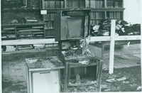 Microfilm machine destroyed in Seelye Reference Room, Neilson Library fire, 21 October 1975.
