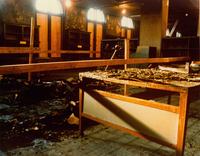 Damage to the Seelye Reference Room in Neilson Library after the fire on October 21, 1975.