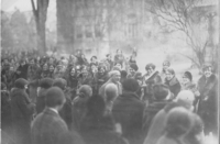 William Allan Neilson being greeted by students upon his return from France, 4 January 1928.