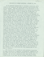 Typed copy of President Thomas C. Mendenhall's remarks at the dedication of the Neilson Library additions, 19 October 1962.
