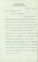 L. Clark Seelye, typed letter signed, dated 25 March 1907, to Josephine Clark.