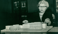 College Librarian Margaret Johnson with model for 1962 Neilson Library building addition.