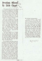 Devotions Offered By Little Chapel, 30 October 1951.