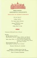 Program for the dedication of Alumnae Gymnasium, 20 May 1983.